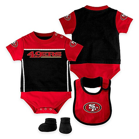 Team Shop > NFL San Francisco 49ers Lil Jersey Size 0-3M 3-Piece Creeper, Bib, and Bootie Set