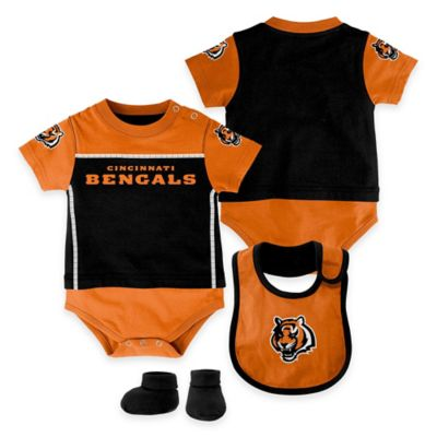 NFL Cincinnati Bengals Lil Jersey Size 0-3M 3-Piece Creeper, Bib, and Bootie Set