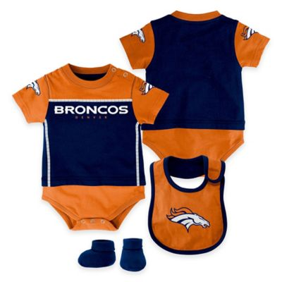 NFL Denver Broncos Lil Jersey Size 3-6M 3-Piece Creeper, Bib, and Bootie Set