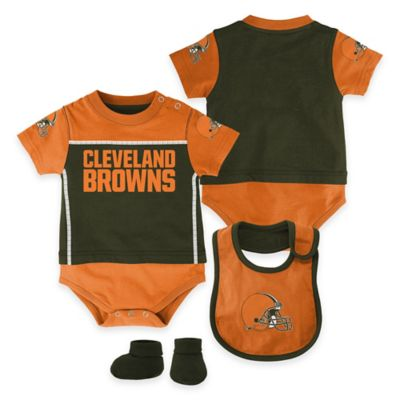NFL Cleveland Browns Lil Jersey Size 0-3M 3-Piece Creeper, Bib, and Bootie Set