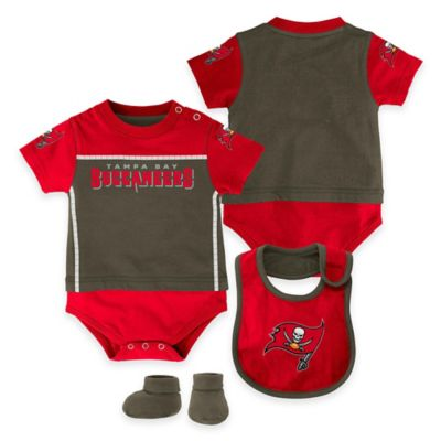 NFL Tampa Bay Buccaneers Lil Jersey Size 3-6M 3-Piece Creeper, Bib, and Bootie Set