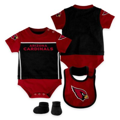 NFL Arizona Cardinals Lil Jersey Size 3-6M 3-Piece Creeper, Bib, and Bootie Set
