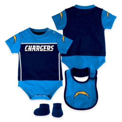 NFL San Diego Chargers Lil Jersey Size 0-3M 3-Piece Creeper, Bib, and Bootie Set