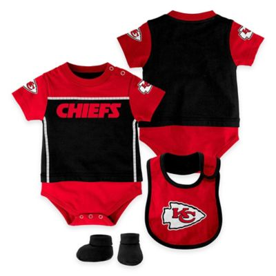 NFL Kansas City Chiefs Lil Jersey Size 3-6M 3-Piece Creeper, Bib, and Bootie Set