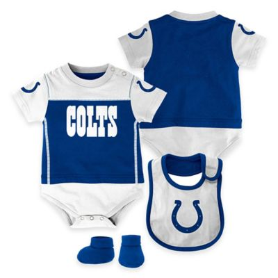 NFL Indianapolis Colts Lil Jersey Size 6-9M 3-Piece Creeper, Bib, and Bootie Set