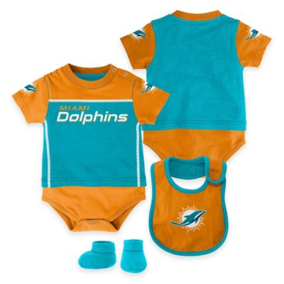 NFL Miami Dolphins Lil Jersey Size 3-6M 3-Piece Creeper, Bib, and Bootie Set