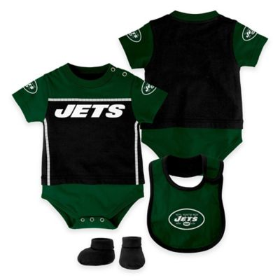 NFL New York Jets Lil Jersey Size 0-3M 3-Piece Creeper, Bib, and Bootie Set