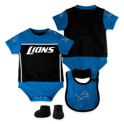 NFL Detroit Lions Lil Jersey Size 0-3M 3-Piece Creeper, Bib, and Bootie Set