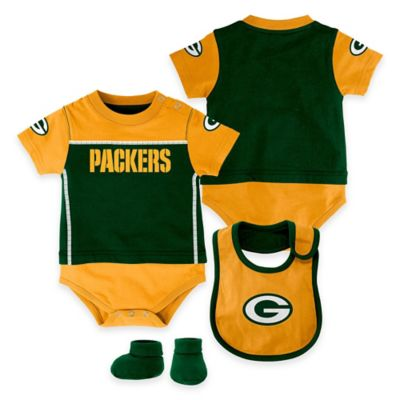 NFL Green Bay Packers Lil Jersey Size 0-3M 3-Piece Creeper, Bib, and Bootie Set