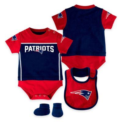 NFL New England Patriots Lil Jersey Size 24M 3-Piece Creeper, Bib, and Bootie Set