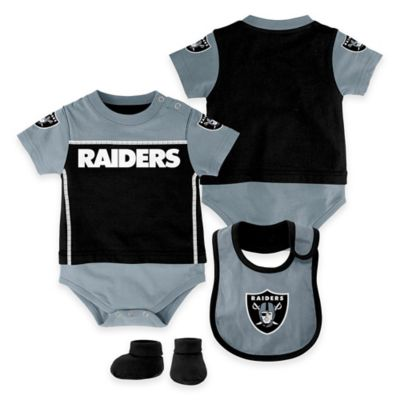 NFL Oakland Raiders Lil Jersey Size 0-3M 3-Piece Creeper, Bib, and Bootie Set