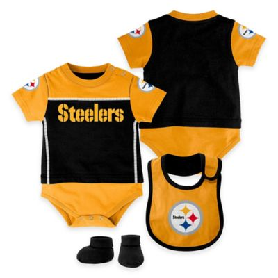 NFL Pittsburgh Steelers Lil Jersey Size 24M 3-Piece Creeper, Bib, and Bootie Set