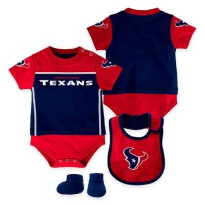 NFL Houston Texans Lil Jersey Size 12M 3-Piece Creeper, Bib, and Bootie Set