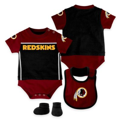 NFL Washington Redskins Lil Jersey Size 0-3M 3-Piece Creeper, Bib, and Bootie Set