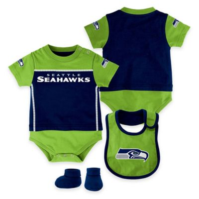 NFL Seattle Seahawks Lil Jersey Size 18M 3-Piece Creeper, Bib, and Bootie Set