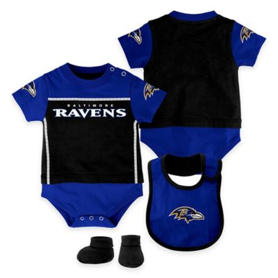 NFL Baltimore Ravens Lil Jersey Size 3-6M 3-Piece Creeper, Bib, and Bootie Set