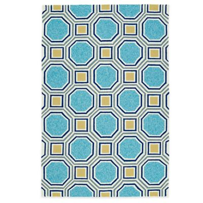 Kaleen Escape Pumpkin Tiles 2-Foot x 3-Foot Indoor/Outdoor Rug in Blue