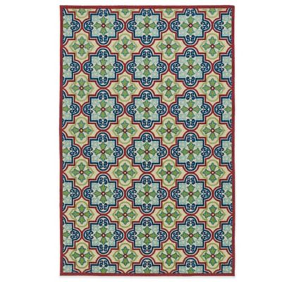 Kaleen Five Seasons Tile 2-Foot 6-Inch x 7-Foot 10-Inch Indoor/Outdoor Runner in Blue