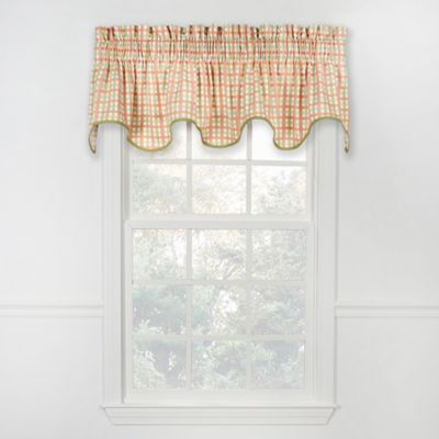 Charleston Check Scalloped Valance in Red/Blue