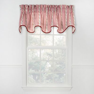 Courtney Stripe Scalloped Cotton Valance in Rose