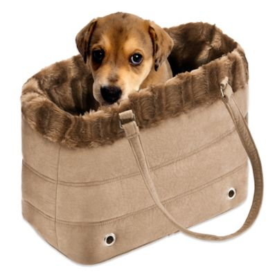 Fur Trimmed Pet Carrier in Brown