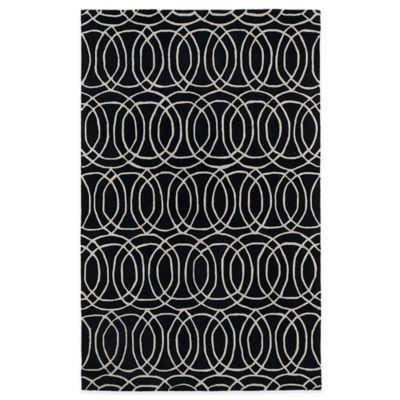 Kaleen Revolution Circles 2-Foot x 3-Foot Accent Rug in Black
