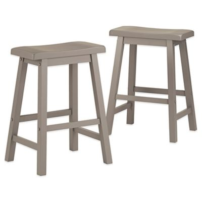Verona Home Calera Saddle Barstools in Blue (Set of 2)