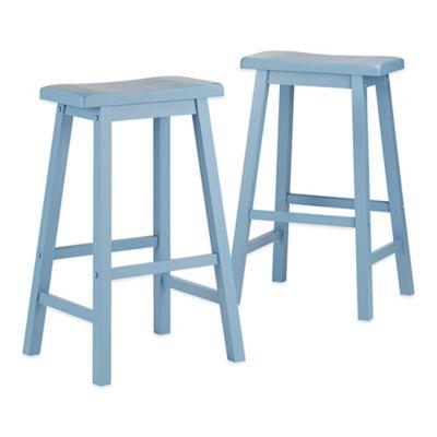 Verona Home Calera Saddle Barstools in Blue (Set of 2)