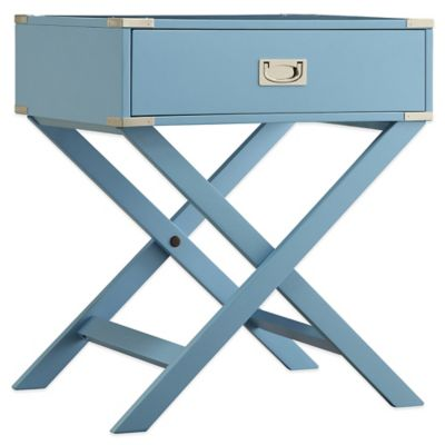 Verona Home Callie Campaign Accent Table in Smoke