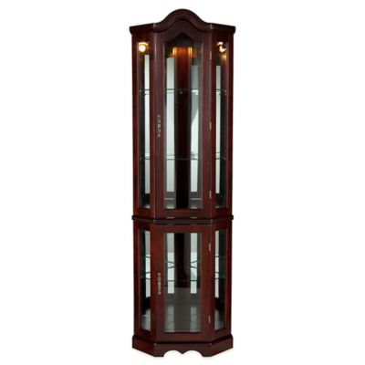 Southern Enterprises Lighted Corner Curio Cabinet in Golden Oak Finish