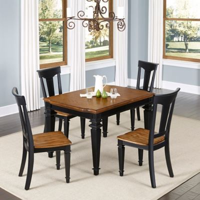 Home Styles Americana 5-Piece Dining Set in Black/Oak