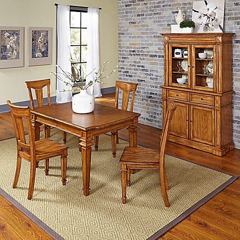 dining set with buffet and hutch in oak