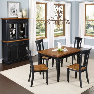Home Styles Americana 5-Piece Dining Set with Buffet and Hutch in Black/Oak