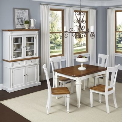 Home Styles Americana 5-Piece Dining Set with Buffet and Hutch in White/Oak