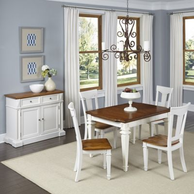 Home Styles Americana 5-Piece Dining Set with Buffet in White/Oak