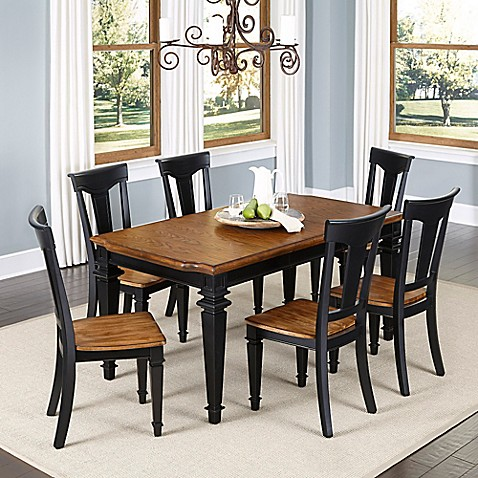 buy home styles americana 7 piece dining set in black oak from bed bath beyond. Black Bedroom Furniture Sets. Home Design Ideas