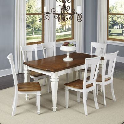 Home Styles Americana 7-Piece Dining Set in White/Oak