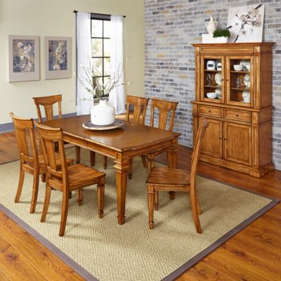 Home Styles Americana 7-Piece Dining Set with Buffet and Hutch in Oak