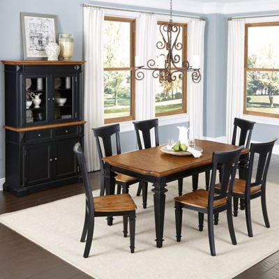 Home Styles Americana 7-Piece Dining Set with Buffet and Hutch in Black/Oak