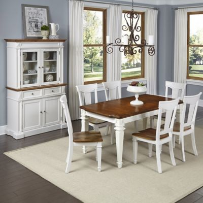 Home Styles Americana 7-Piece Dining Set with Buffet and Hutch in White/Oak