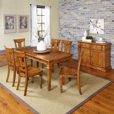 Home Styles Americana 7-Piece Dining Set with Buffet in Oak
