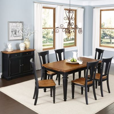 Home Styles Americana 7-Piece Dining Set with Buffet in Black/Oak
