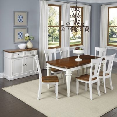 Home Styles Americana 7-Piece Dining Set with Buffet in White/Oak