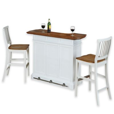 Home Styles Americana Bar with Two Barstools in White/Oak