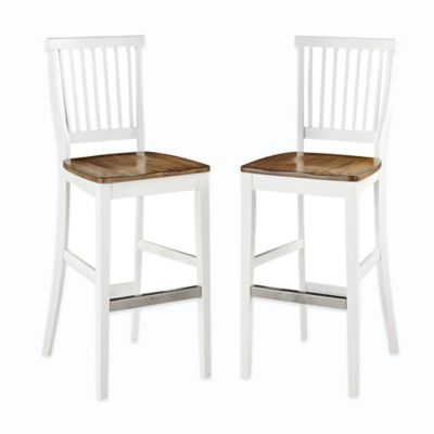 Home Styles Americana Barstool in White/Oak