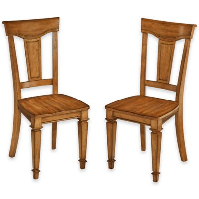 Home Styles Americana Dining Chairs in Black/Oak (Set of 2)