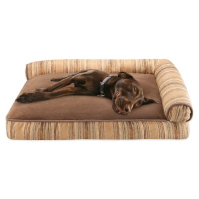 Duke Soft Touch Right Angle Bolster Pet Lounger in Heritage Teak Stripes