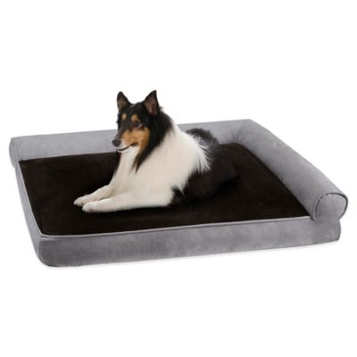 Duke Soft Touch Right Angle Bolster Pet Lounger in Grey/Black