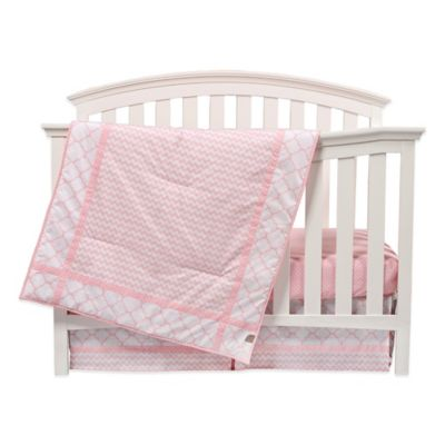 3-Piece Pink Crib Bedding