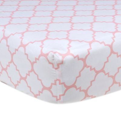 Trend Lab® Pink Sky Fitted Crib Sheet in Quatrefoil
